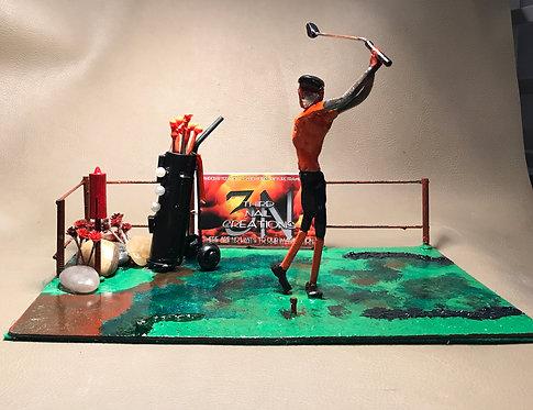 O'er Kid Golfing Painted Scene