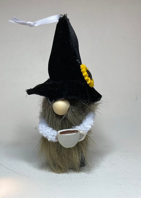 Cheery Gnome with Coffee Mug & Black Hat