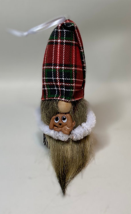 Cheery Gnome - dark green/red plaid folded tall hat with brown dog in arms
