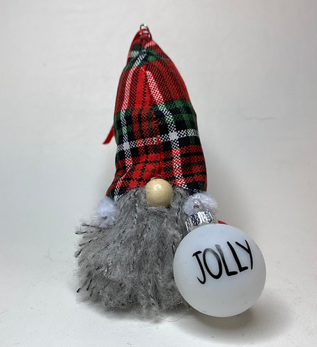 Cheery Gnome with Red Plaid Hat and Jolly Ornament