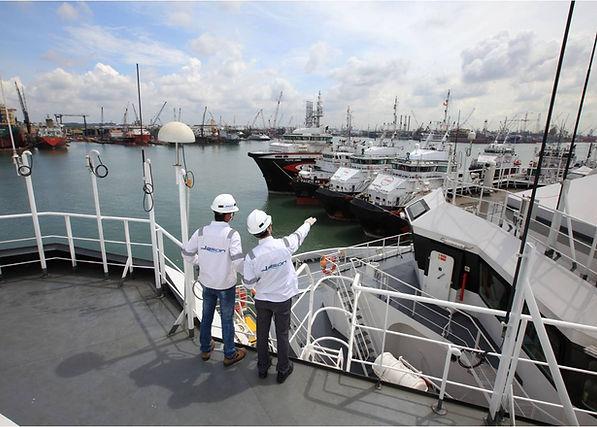 Engineers inspecting ship