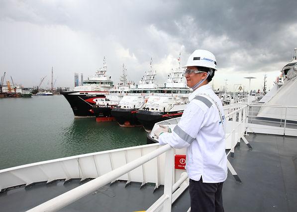 Engineer onboard marine vessel