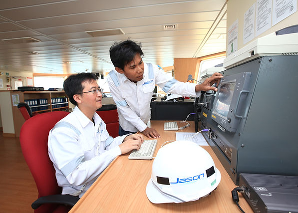 Engineers checking ship's systems
