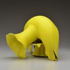 Vase with Yellow Glaze and Lobed Rim