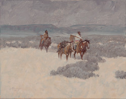 Snow Squalls by Kim Mackey. Oil painting with Native Americans riding horses in snow.