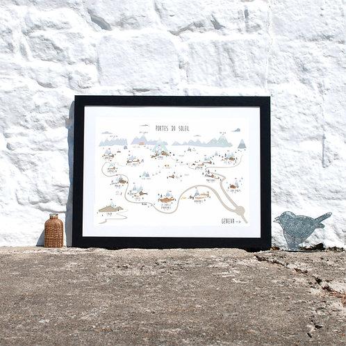 Portes du Soleil ski map, Avoriaz, Morzine, Chatel