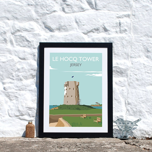 Le Hocq Tower, Jersey Channel Islands, Retro travel Print