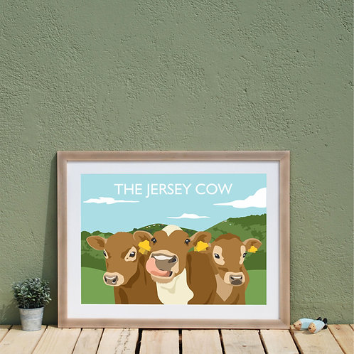 Jersey Channel Islands Print, Retro Travel Print, Jersey Cows
