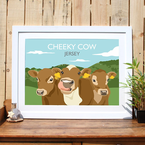 Jersey Cow Print Retro Poster, Channel Islands