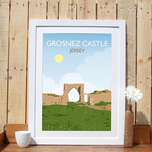 Grosnez Castle Print, Poster Channel Islands Jersey