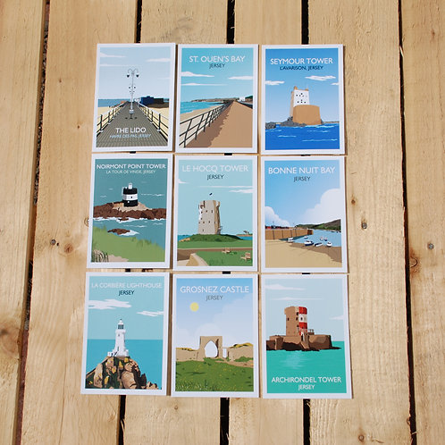 Jersey printed postcards, Channel islands