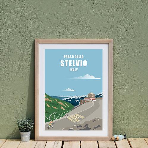 Passo Dello Stelvio , Road Biking, Mountain Climb Print