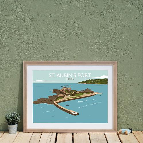 St Aubin's Fort Print, Jersey Channel Islands