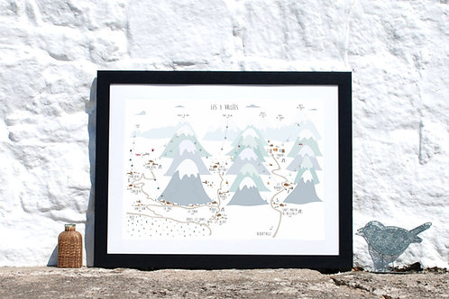 Les 3 Vallees ski map print