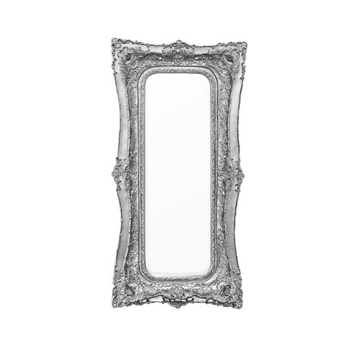 Antique Silver Baroque Floor Standing Mirror