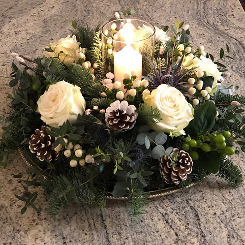 Nordic Christmas Arrangement with Glass Hurricane Candle