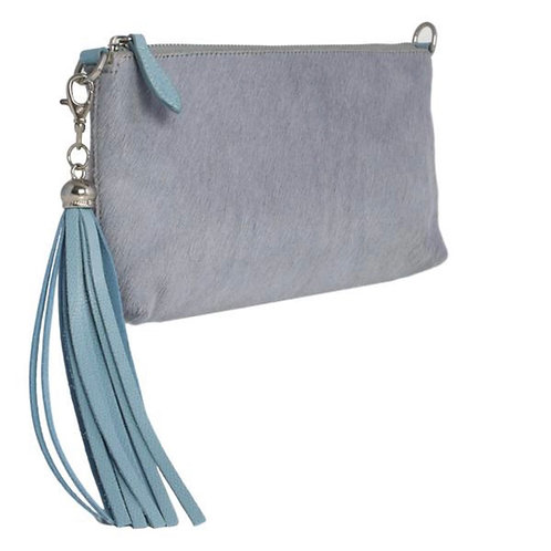 Clutch Bag - Soft Blue Grey Furry Hair on Hide Leather