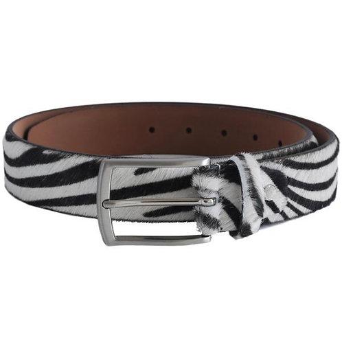 Zebra Print Hair On Hide Leather Belt