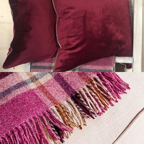 Cotton Velvet Cushion - Berry
