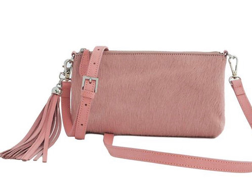 Clutch Bag - Pink Furry Hair On Hide Leather