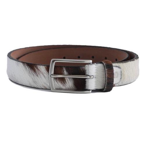 Brown Cow Print Hair On Hide Leather Belt