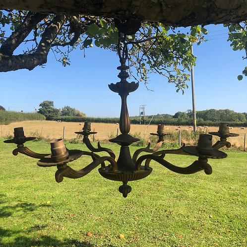 Beautuful French Antique Bronze 6-Arm Chandelier