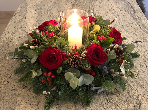'Festive Cheer' Table Arrangement with Glass Hurricane