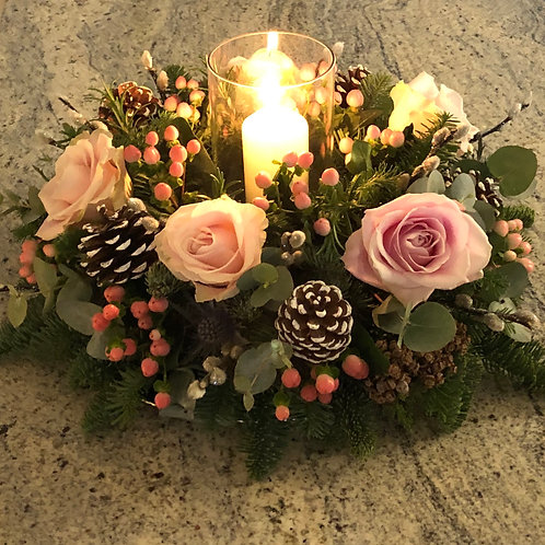 'Antique Woodland' Christmas Arrangement with Glass Lantern
