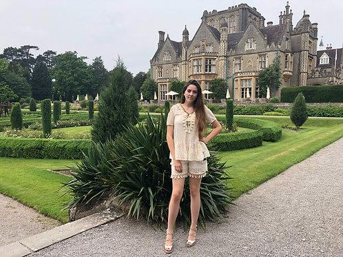 Designer Embellished Lace Shorts Set
