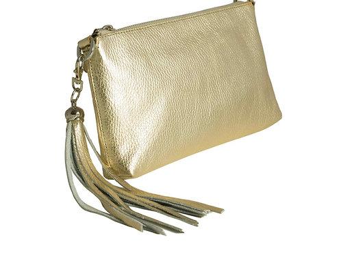 Clutch Bag - Champagne Palmellato Leather