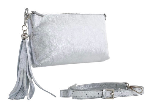 Clutch Bag - Silver Palmalleto Leather