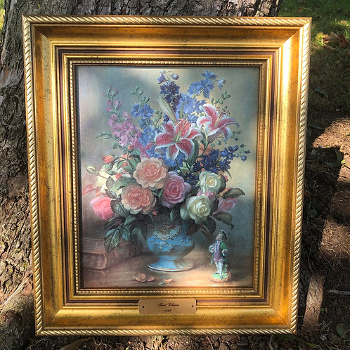 Vintage Floral Oil Paiting by Albert Williams