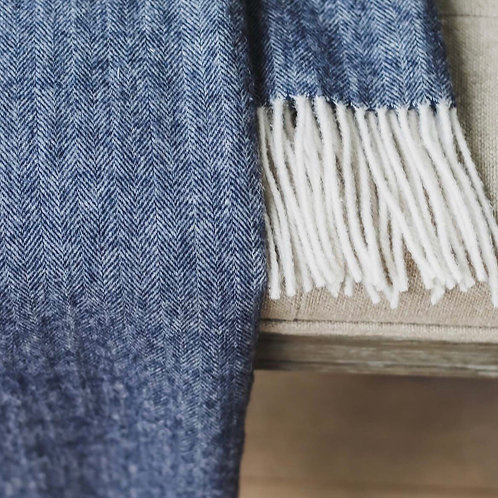 Pure New Wool Throw - Dark Blue
