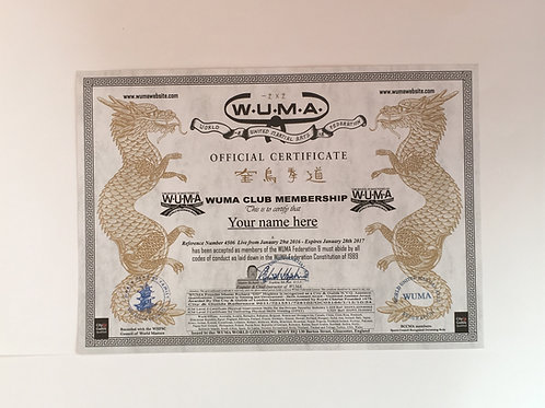 International WUMA Membership Certificate