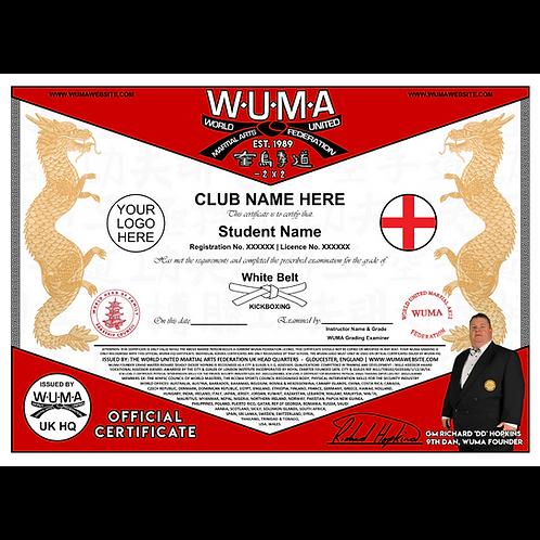 World Coloured Belt Grading Registration Fee.