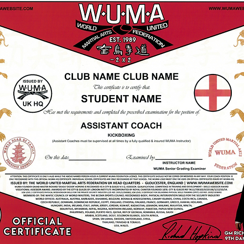 Student Assistant Coach Certificate