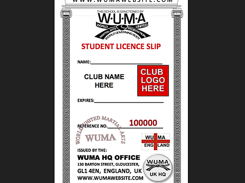 WUMA Official Licence Slip