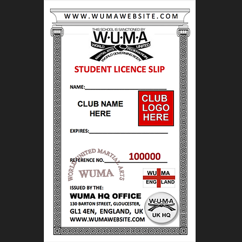 W6+ Student Licences Slips