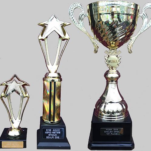 """Gold Cup with Handles 100mm, 12"""", 6"""" Trophy Set"""