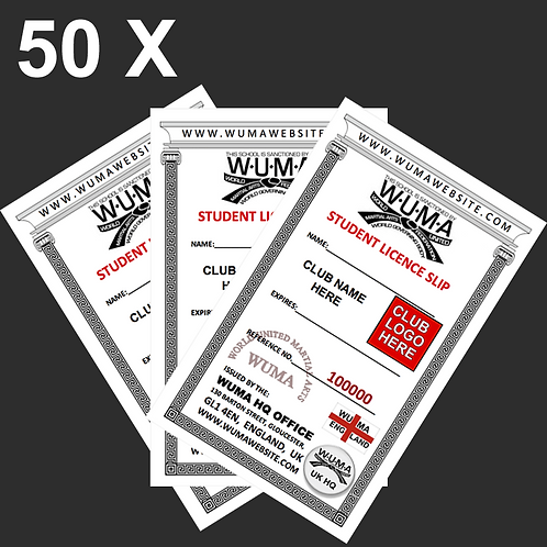 50 x Student Licence Slips - £3 per Licence
