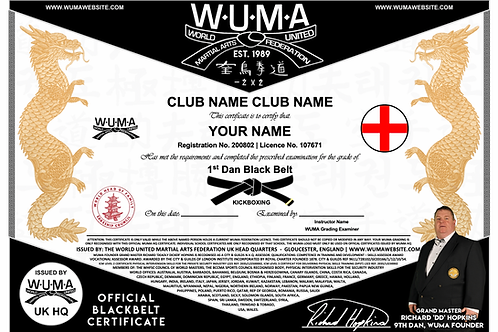 Replacement Blackbelt Grading Certificate