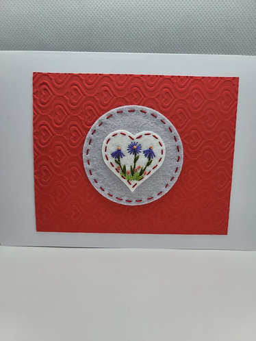 Valentine card, flower embroidery card