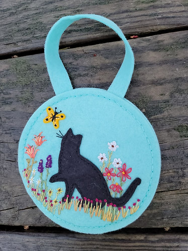 Cat ornament, flower embroidery art