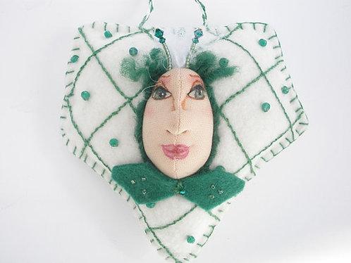 May Birthstone Ornament, Emerald beaded Art doll, Cloth doll
