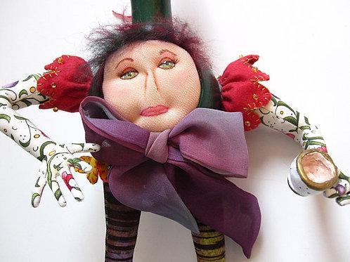 Mixed Media Art Doll, Gourd Art, Cloth Doll