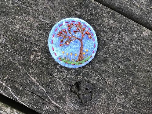 Apple tree pin, felt brooch, beaded art pin