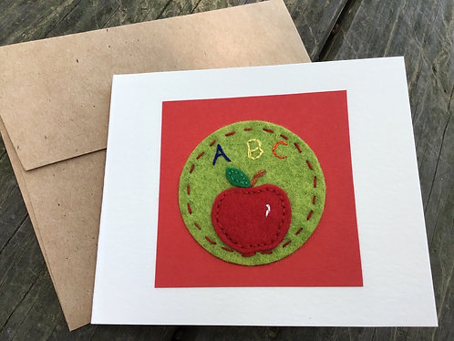 Apple Greeting Card, card for teacher