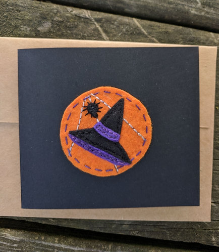 Witch hat, spider web, Halloween card