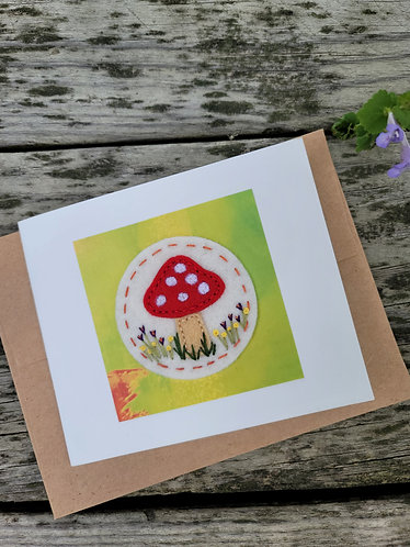 Toadstool art, flower embroidery card, any occasion greeting card