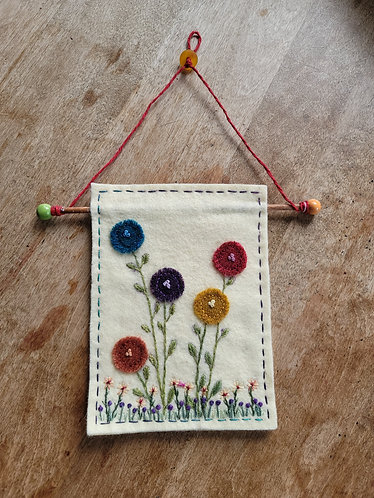 Posy, Posie wall hanging, flower embroidery
